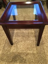 Glass and wood end table in Naperville, Illinois