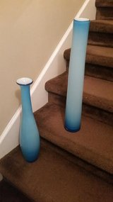 Large / 2 Piece Retro 2 Tone Blue Vase Set in Fort Campbell, Kentucky