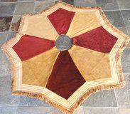 Christmas Tree Skirt - Custom Made - Gold, Cranberry, Fringe / SALE in Kingwood, Texas