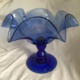 Blue blown glass candy dish/vase in Perry, Georgia