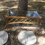 Small rattan coffee table in Cherry Point, North Carolina
