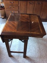 Wooden accent table in Aurora, Illinois