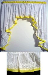 Superwide Dinnette Wht/Yellow Swag Topper & Tier Curtain Set w/ EYELET Embroidered Ruffles in Wilmington, North Carolina