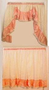 """NEW Super Wide Peach & Beige Swag Topper & 36"""" Long Tier Curtain Set Made in USA in Wilmington, North Carolina"""