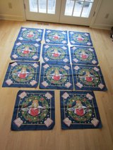 "11 Christmas Bandanas: Angel on Blue w/ Stars, Wreath & Bible Print, 21"" Fabric Squares - Quilt ... in Chicago, Illinois"