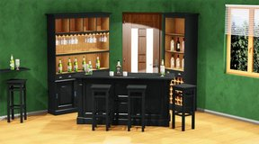 Bar Group - Large Bar Back - Bar Counter - 3 Bar Pub Stools - including Delivery in Ansbach, Germany