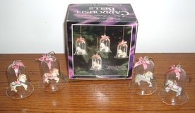 Box of 4 Crystal Glass Carousel Horses Bell Hanging Ornaments in Plainfield, Illinois