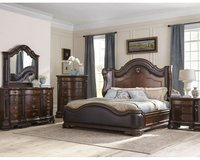 Edinburgh Queen Size Bed Set - bed + dresser+ mirror + 1 night stand + delivery in Ansbach, Germany
