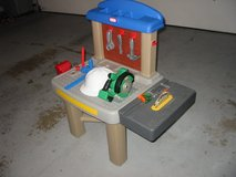 Little Tikes workbench with table saw, power saw, tools and hard hat.$18 in Morris, Illinois