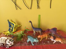 Lot of Dinosaurs and lions toys for children in Oswego, Illinois