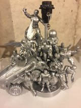 Hand made one of a kind silver/metallic action figure table lamp in Joliet, Illinois