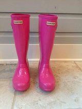 Girls Hunter Rain Boots + Fleece Welly Boot Socks - Hot Pink Size 4 in St. Charles, Illinois
