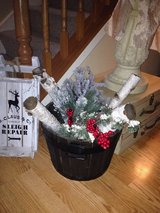 Rustic barrel bucket filled w/ real birch logs, Christmas pines, grapes, berries, pine cones! in Glendale Heights, Illinois