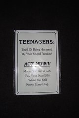 "Advice for Teenagers metal sign, 12"" by 8"" approx in Ramstein, Germany"