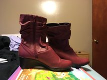 Red leather boots in Camp Lejeune, North Carolina