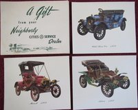 Cities Service Dealer (now CITGO) Antique Car Prints Gift Set 1950s in Lockport, Illinois