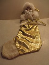 STUNNING! PORCELAIN SANTA GOLD LAME STOCKING in Plainfield, Illinois