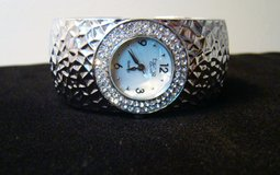 LADIES FIGARO COUTURE SILVER HAMMERED CUFF WATCH in Camp Lejeune, North Carolina