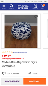 Medium bean bag chair digital camouflage new in Bolingbrook, Illinois