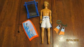 "Barbie Cali Guy ""Blaine"" Doll Surf Boy Rooted Hair Beach Surfer, Bogi Board, Dive Gear Clothes in Byron, Georgia"