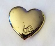 Vintage Variety Club Hand Print Heart Love Gold Tone Brooch Pin Jewelry Fashion in Kingwood, Texas