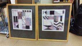 Set of 2 framed & matted geometrical pieces of art in Westmont, Illinois