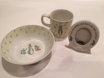 Wedgwood Peter Rabbit porcelain bowl cup and picture frame in Naperville, Illinois