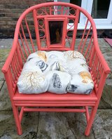 CORAL COLOR CANE CHAIR WITH CUSHION in Lakenheath, UK