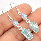 New - Aquamarine Rough Wire Wrapped & Moonstone 925 Sterling Silver Earrings in Alamogordo, New Mexico