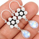 """New - Rainbow Moonstone 925 Sterling Silver 1 5/8"""" Earrings in Alamogordo, New Mexico"""