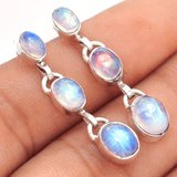 """New - Moonstone 925 Sterling Silver 1 1/2"""" Earrings in Alamogordo, New Mexico"""