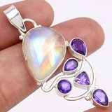 """New - Rainbow Moonstone & Amethyst 925 Sterling Silver 2"""" Pendant (Includes chain) in Alamogordo, New Mexico"""