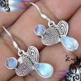 New - Natural Rainbow Moonstone 925 Sterling Silver Hearts Earrings in Alamogordo, New Mexico