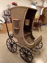 Antique Deluxe Wicker and Iron Baby Carriage/Buggy/Stroller.  Rare Gem! in Joliet, Illinois