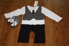 NEW WITH TAG BABY BOY ELIBELLA TIE AND VEST COTTON JUMPSUIT WITH BLACK AND BLUE SHOES in Schaumburg, Illinois