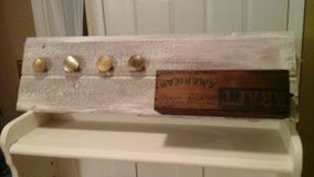 Whitewashed Barnwood Coat/Apron Rack W/Antique Kraft Cheese Wooden Crate in Glendale Heights, Illinois
