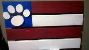 U.S. Puppy Paw Flag painted wood in Morris, Illinois