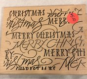 Merry Christmas Large Block Stamp in Chicago, Illinois