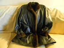 New Ladies Leather Fur Winter Coat Size Large in Palatine, Illinois