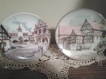 Two porcelain plates Depicting German Street Scene in St. Charles, Illinois
