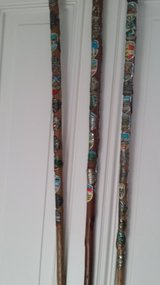 German style walking sticks loaded with tags. I have 5 in Ramstein, Germany