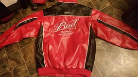 NEW Budweiser Nascar Large Red/Black Leather Jacket in Fort Campbell, Kentucky