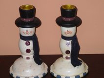 "6.5""H snowman taper holders in Lockport, Illinois"