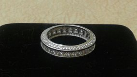 Sterling Silver Princess-cut Micropave CZ Eternity Band Ring in Joliet, Illinois