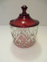 BEAUTIFUL VINTAGE Sugar, Jam Condiment Ruby Red Covered Bowl in Lockport, Illinois