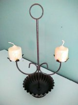 Hammered Bronze Antique Double Candle Holder in Wilmington, North Carolina