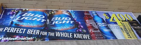 Anheuser-Busch Mardi Gras Banners in Kingwood, Texas