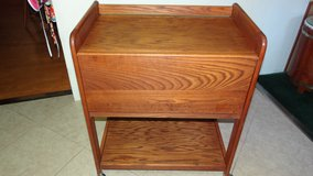 Solid wood Microwave Cart stand on caster rollers in Cleveland, Texas