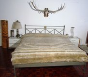 Galvanized Steel American Kingsize Bed Frame with Mattress , Nightstands in Ramstein, Germany