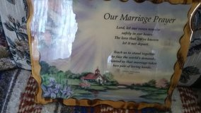 A marriage prayer wall hanging in Fort Campbell, Kentucky
